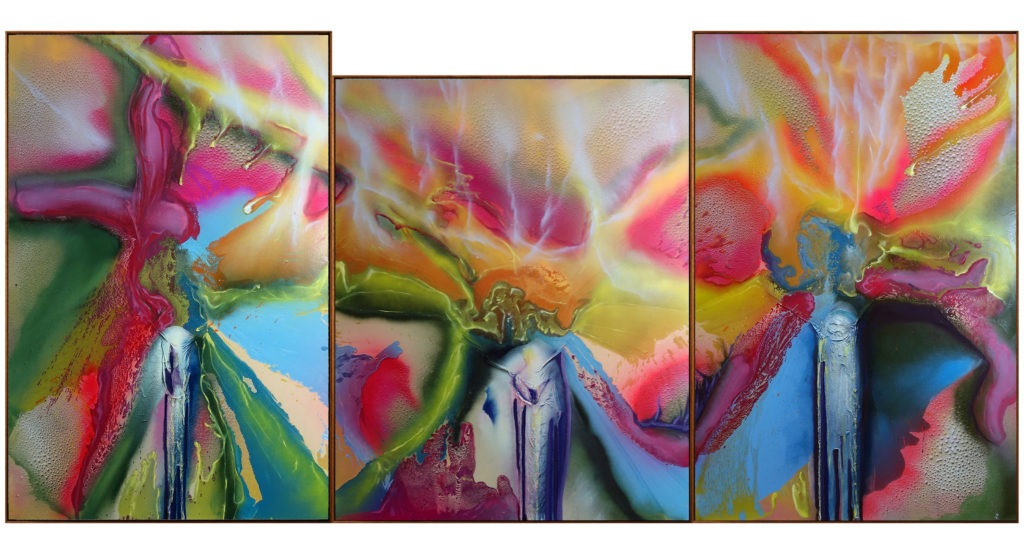 <i>Aurora</i><br/>2019<br/>Oil, Enamel and lacquer on canvas<br/>370x180 cm