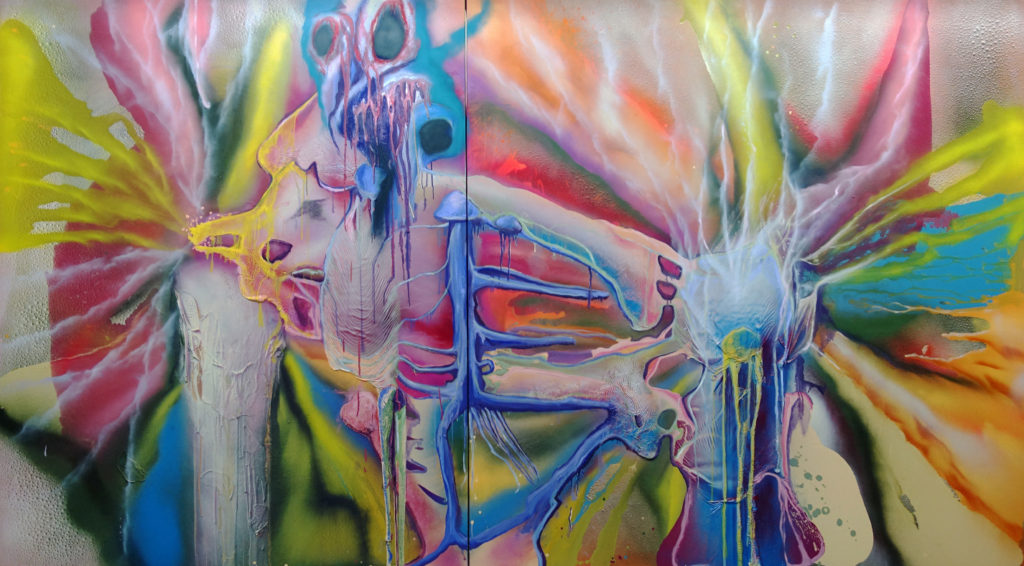 <i>Magic Mushrooms</i><br/>2019<br/>Oil, Enamel and lacquer on canvas<br/>180x330 cm
